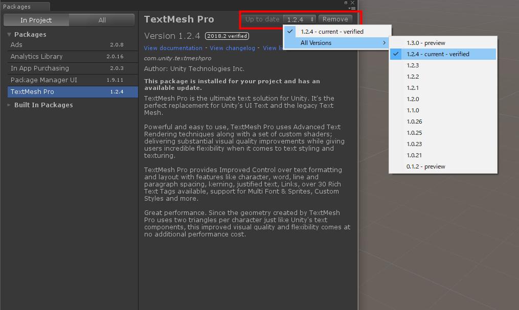 Unity】TextMesh ProがUnityに組み込まれました   Section31